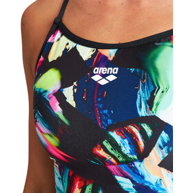 arena Colourful Paintings Lace Back One Piece Swimsuit Women, Multicolor